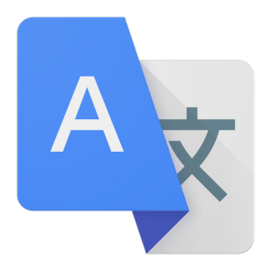 Logo of google translate white symbol on blue background above gray symbol on light background