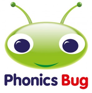 Phonic Bug Logo green cartoon bugs face above Phonics Bug text